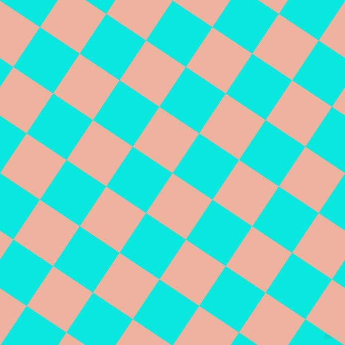 56/146 degree angle diagonal checkered chequered squares checker pattern checkers background, 96 pixel squares size, , Wax Flower and Bright Turquoise checkers chequered checkered squares seamless tileable