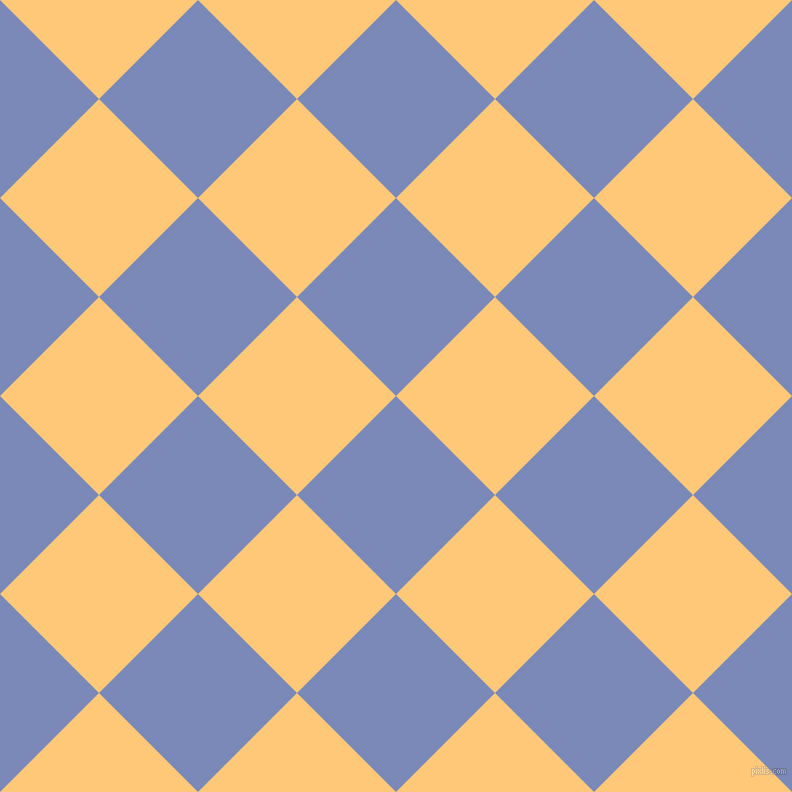 45/135 degree angle diagonal checkered chequered squares checker pattern checkers background, 140 pixel square size, , Wild Blue Yonder and Chardonnay checkers chequered checkered squares seamless tileable