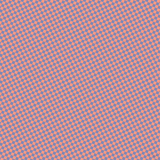 72/162 degree angle diagonal checkered chequered squares checker pattern checkers background, 12 pixel squares size, , Wild Blue Yonder and Vivid Tangerine checkers chequered checkered squares seamless tileable