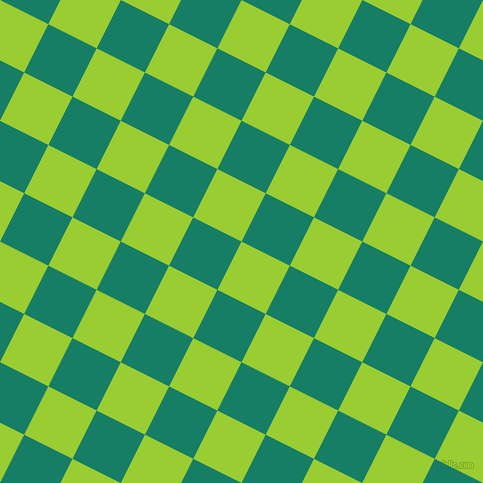 63/153 degree angle diagonal checkered chequered squares checker pattern checkers background, 54 pixel square size, , Yellow Green and Deep Sea checkers chequered checkered squares seamless tileable