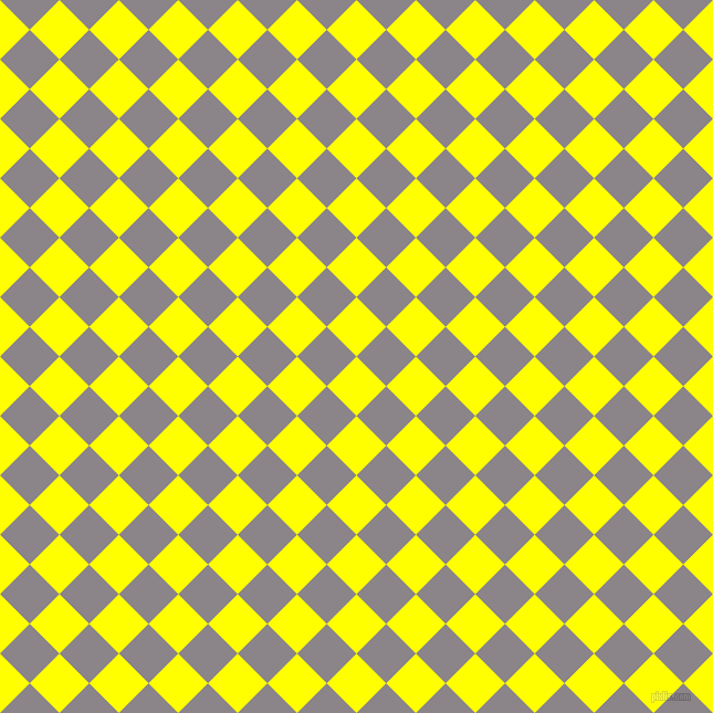 45/135 degree angle diagonal checkered chequered squares checker pattern checkers background, 38 pixel square size, , Yellow and Taupe Grey checkers chequered checkered squares seamless tileable