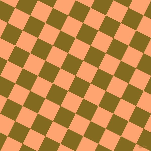63/153 degree angle diagonal checkered chequered squares checker pattern checkers background, 67 pixel squares size, , Yukon Gold and Hit Pink checkers chequered checkered squares seamless tileable