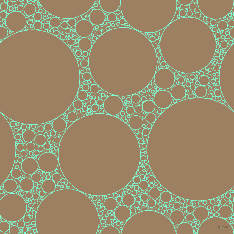 bubbles, circles, sponge, big, medium, small, 2 pixel line width, Aquamarine and Sorrell Brown circles bubbles sponge soap seamless tileable