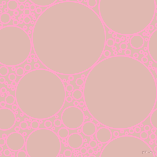 bubbles, circles, sponge, big, medium, small, 5 pixel line width, Carnation Pink and Cavern Pink circles bubbles sponge soap seamless tileable