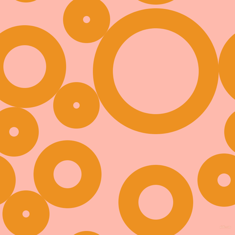 bubbles, circles, sponge, big, medium, small, 65 pixel line width, Carrot Orange and Melon circles bubbles sponge soap seamless tileable