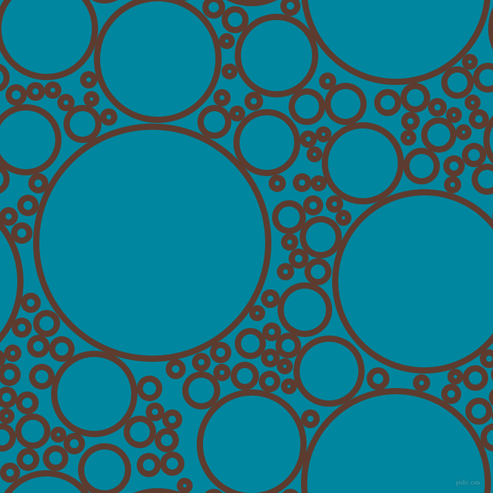 bubbles, circles, sponge, big, medium, small, 9 pixel line width, Cioccolato and Eastern Blue circles bubbles sponge soap seamless tileable