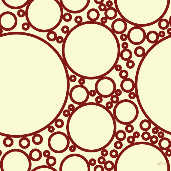 bubbles, circles, sponge, big, medium, small, 9 pixel line width, Falu Red and Light Goldenrod Yellow circles bubbles sponge soap seamless tileable
