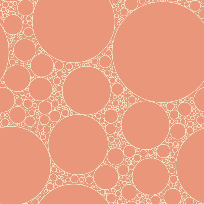 bubbles, circles, sponge, big, medium, small, 2 pixel line width, Half And Half and Dark Salmon circles bubbles sponge soap seamless tileable