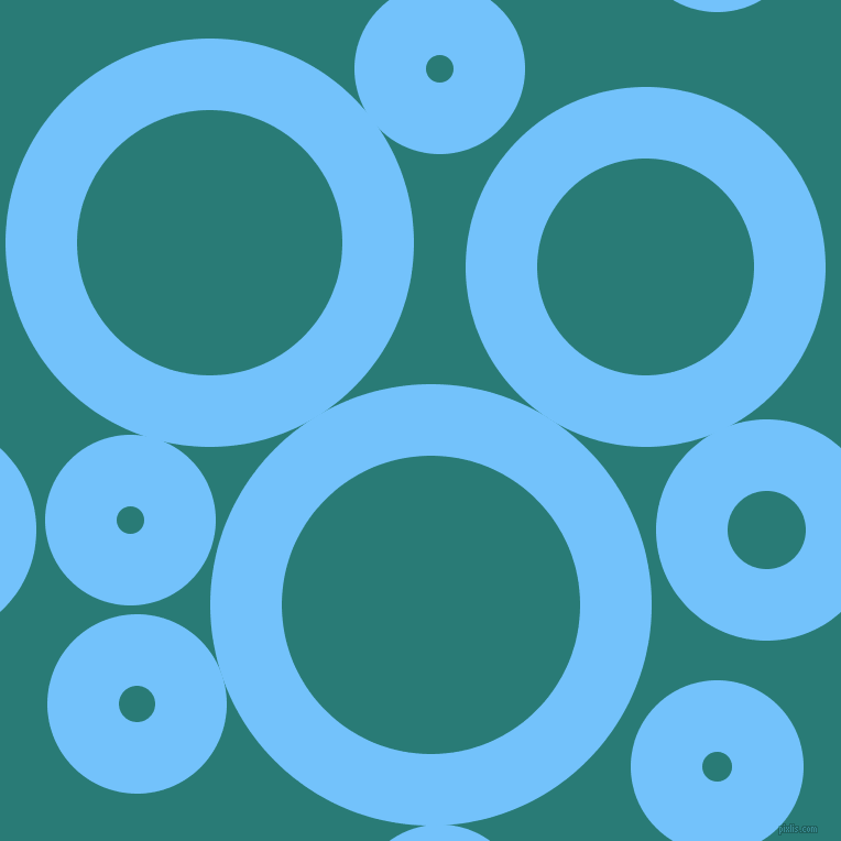 bubbles, circles, sponge, big, medium, small, 65 pixel line width, Maya Blue and Elm circles bubbles sponge soap seamless tileable
