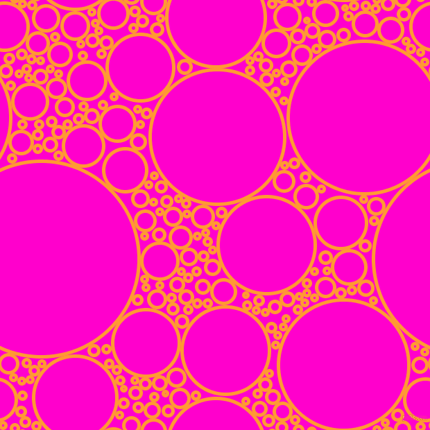 bubbles, circles, sponge, big, medium, small, 5 pixel line width, Neon Carrot and Hot Magenta circles bubbles sponge soap seamless tileable