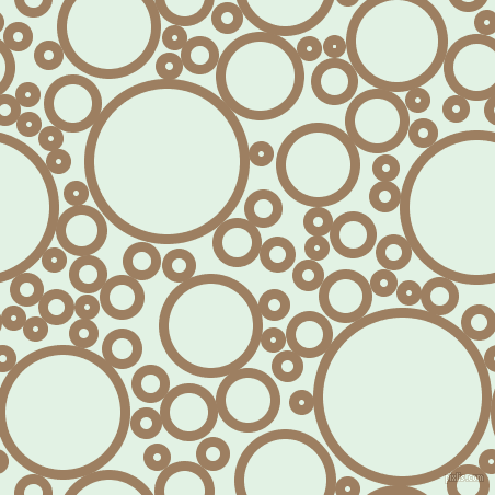 bubbles, circles, sponge, big, medium, small, 9 pixel line width, Sorrell Brown and Frosted Mint circles bubbles sponge soap seamless tileable
