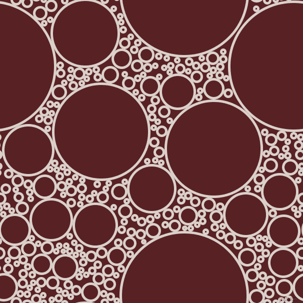 bubbles, circles, sponge, big, medium, small, 5 pixel line width, Swiss Coffee and Burnt Crimson circles bubbles sponge soap seamless tileable