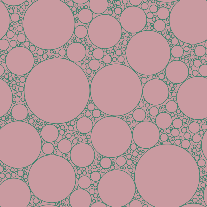 bubbles, circles, sponge, big, medium, small, 2 pixel line width, Viridian and Careys Pink circles bubbles sponge soap seamless tileable
