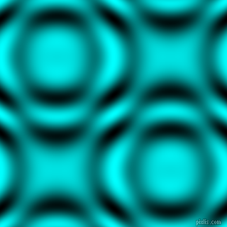 Aqua and Black and White circular plasma waves seamless tileable