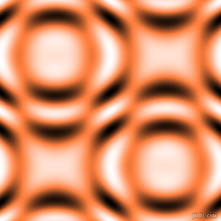 , Burnt Orange and Black and White circular plasma waves seamless tileable