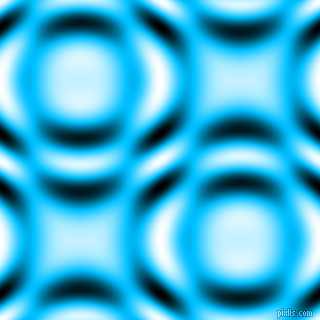 , Deep Sky Blue and Black and White circular plasma waves seamless tileable