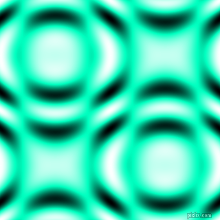 Medium Spring Green and Black and White circular plasma waves seamless tileable