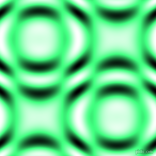 , Spring Green and Black and White circular plasma waves seamless tileable