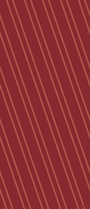 109 degree angles dual striped lines, 6 pixel lines width, 14 and 33 pixels line spacing, Apple Blossom and Flame Red dual two line striped seamless tileable