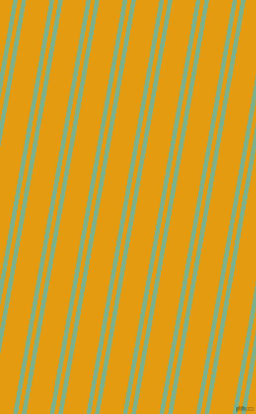 80 degree angles dual stripe lines, 9 pixel lines width, 8 and 47 pixels line spacing, Bay Leaf and Gamboge dual two line striped seamless tileable