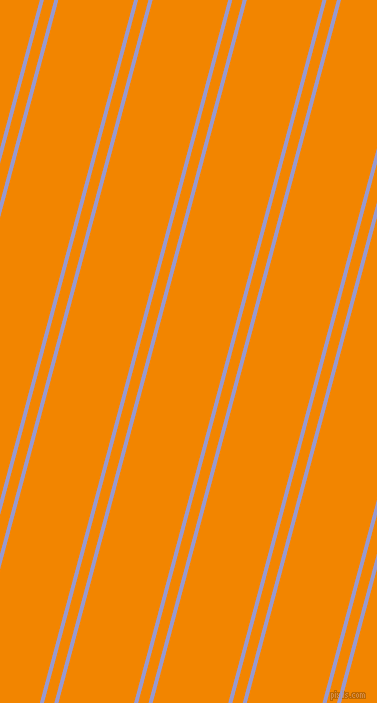 75 degree angle dual stripe lines, 4 pixel lines width, 10 and 73 pixel line spacing, Blue Bell and Tangerine dual two line striped seamless tileable