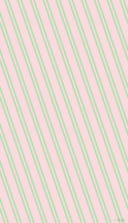109 degree angle dual striped line, 5 pixel line width, 6 and 24 pixel line spacing, Celadon and Pale Pink dual two line striped seamless tileable