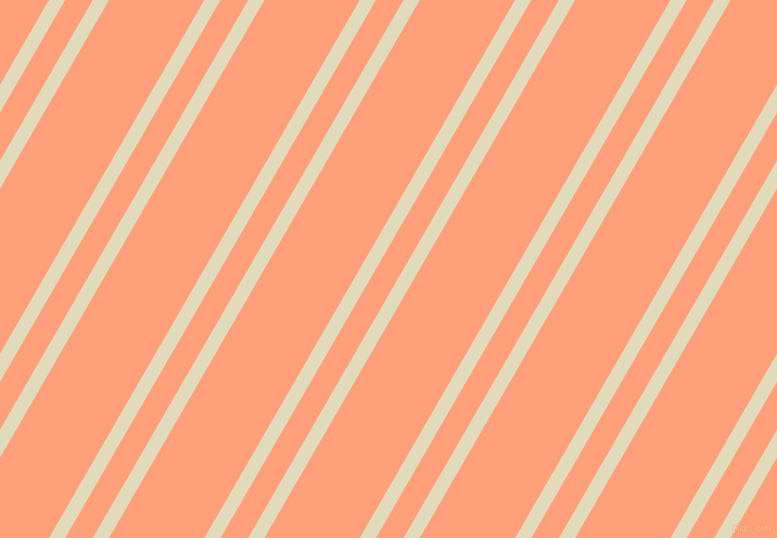 60 degree angles dual stripe line, 13 pixel line width, 22 and 76 pixels line spacing, Coconut Cream and Light Salmon dual two line striped seamless tileable