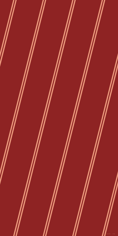 76 degree angle dual striped line, 5 pixel line width, 4 and 102 pixel line spacing, Dark Salmon and Mandarian Orange dual two line striped seamless tileable