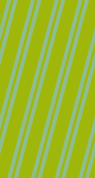 75 degree angles dual striped line, 13 pixel line width, 8 and 43 pixels line spacing, Dark Sea Green and Citrus dual two line striped seamless tileable