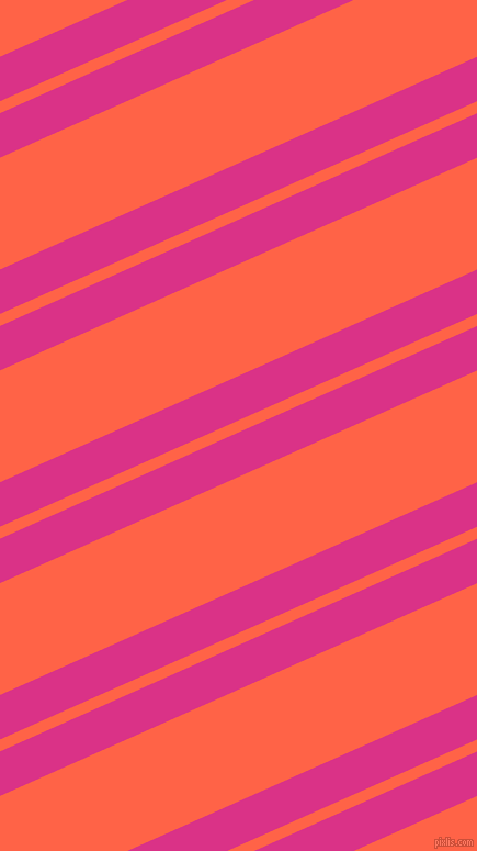 24 degree angles dual stripes lines, 37 pixel lines width, 10 and 93 pixels line spacing, Deep Cerise and Tomato dual two line striped seamless tileable
