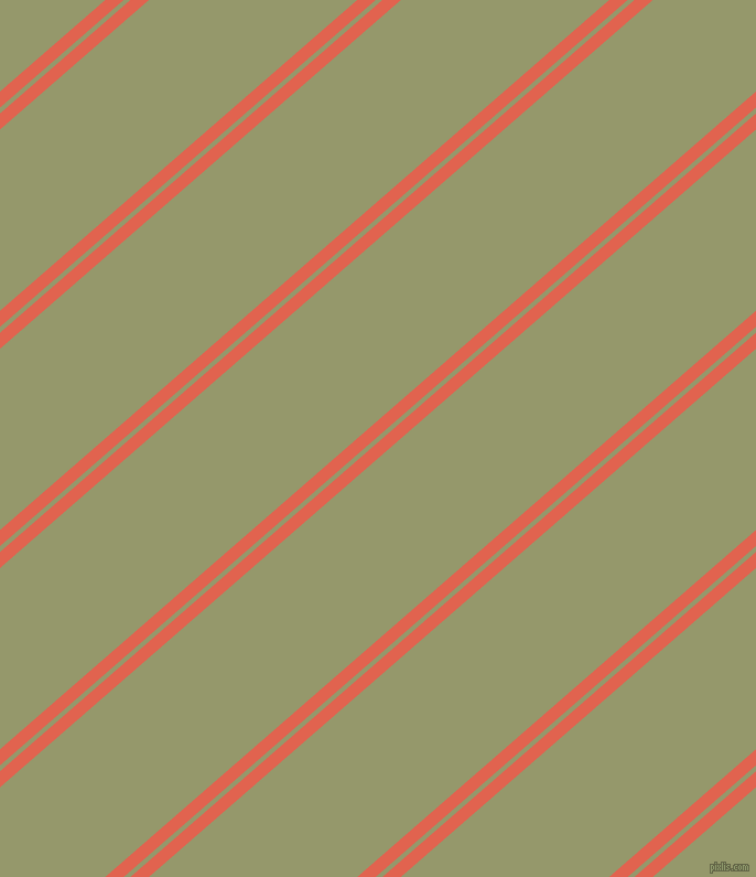 41 degree angles dual stripe line, 11 pixel line width, 4 and 124 pixels line spacing, Flamingo and Avocado dual two line striped seamless tileable