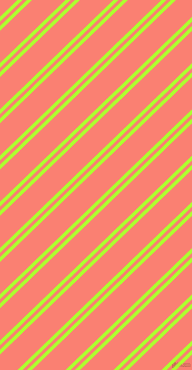 44 degree angles dual striped lines, 7 pixel lines width, 6 and 46 pixels line spacing, Green Yellow and Salmon dual two line striped seamless tileable