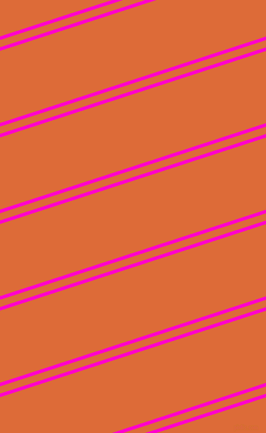18 degree angle dual stripe line, 5 pixel line width, 10 and 100 pixel line spacing, Hot Magenta and Sorbus dual two line striped seamless tileable