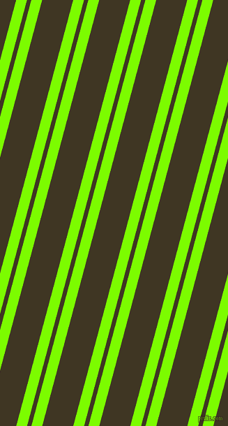 75 degree angles dual stripes line, 15 pixel line width, 6 and 43 pixels line spacing, Lawn Green and Mikado dual two line striped seamless tileable