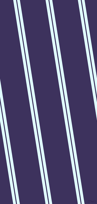 99 degree angles dual stripes line, 12 pixel line width, 4 and 107 pixels line spacing, Light Cyan and Jacarta dual two line striped seamless tileable