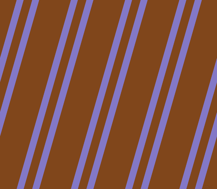 74 degree angles dual stripe lines, 23 pixel lines width, 28 and 104 pixels line spacing, Moody Blue and Russet dual two line striped seamless tileable
