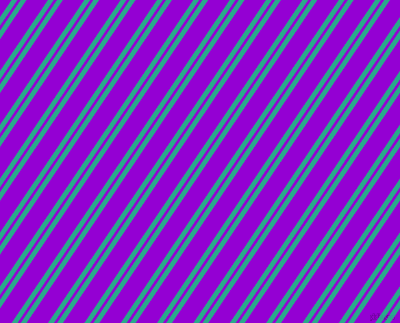56 degree angle dual striped line, 7 pixel line width, 4 and 26 pixel line spacing, Niagara and Dark Violet dual two line striped seamless tileable