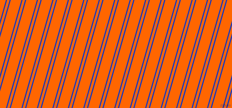 74 degree angles dual striped line, 4 pixel line width, 8 and 35 pixels line spacing, Persian Blue and Safety Orange dual two line striped seamless tileable
