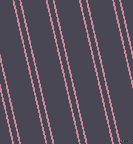 103 degree angles dual stripes lines, 6 pixel lines width, 16 and 78 pixels line spacing, Puce and Gun Powder dual two line striped seamless tileable