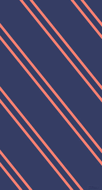 129 degree angle dual stripe lines, 9 pixel lines width, 18 and 102 pixel line spacing, Salmon and Bay Of Many dual two line striped seamless tileable