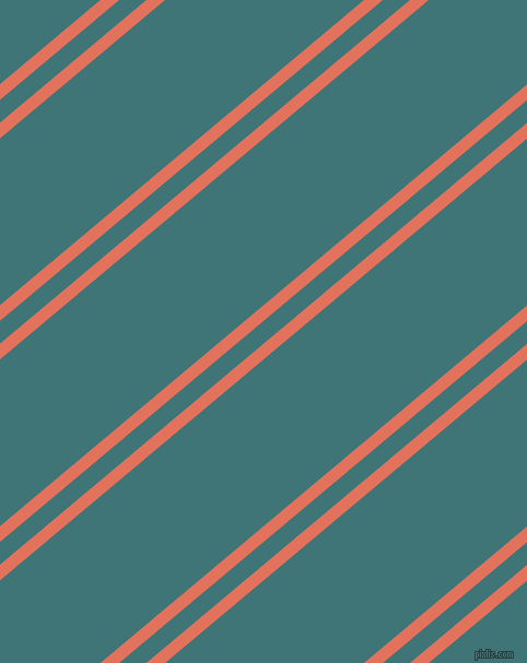 40 degree angles dual stripe lines, 11 pixel lines width, 16 and 117 pixels line spacing, Terra Cotta and Ming dual two line striped seamless tileable
