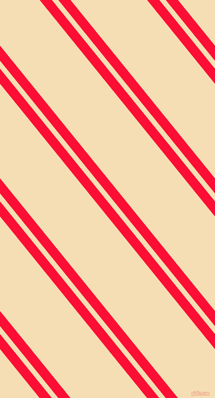 129 degree angles dual stripe line, 19 pixel line width, 10 and 119 pixels line spacing, Torch Red and Wheat dual two line striped seamless tileable