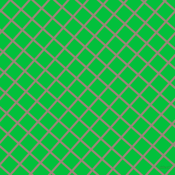 48/138 degree angle diagonal checkered chequered lines, 7 pixel lines width, 42 pixel square size, Almond Frost and Dark Pastel Green plaid checkered seamless tileable