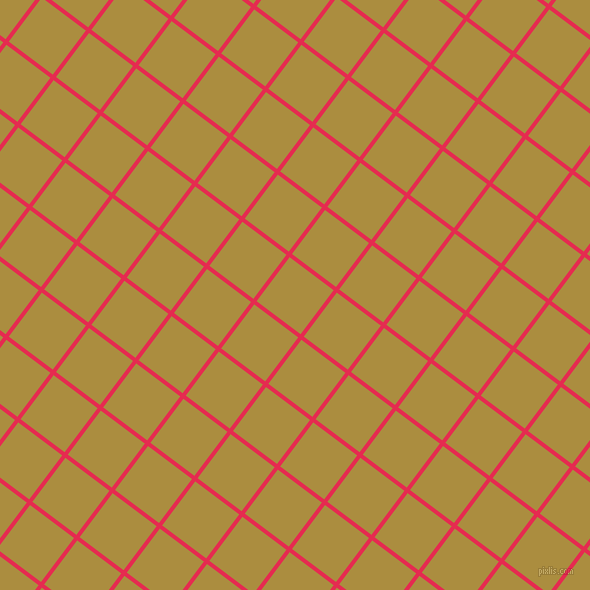 53/143 degree angle diagonal checkered chequered lines, 4 pixel lines width, 55 pixel square size, Amaranth and Luxor Gold plaid checkered seamless tileable