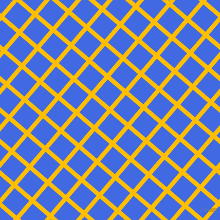49/139 degree angle diagonal checkered chequered lines, 9 pixel line width, 40 pixel square size, Amber and Royal Blue plaid checkered seamless tileable