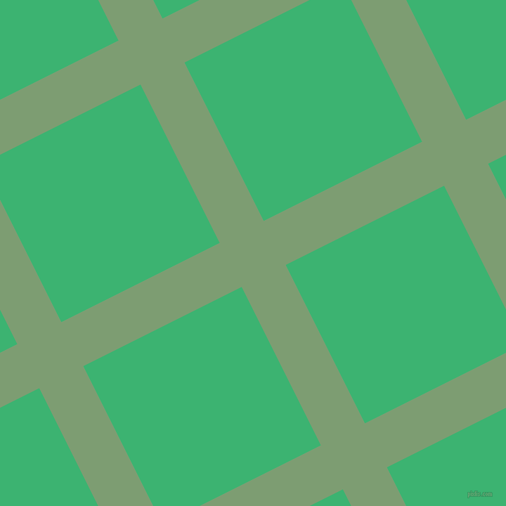 27/117 degree angle diagonal checkered chequered lines, 70 pixel lines width, 252 pixel square size, Amulet and Medium Sea Green plaid checkered seamless tileable