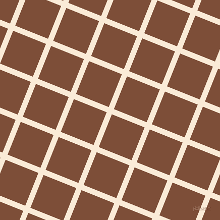 68/158 degree angle diagonal checkered chequered lines, 11 pixel line width, 70 pixel square size, Antique White and Cigar plaid checkered seamless tileable