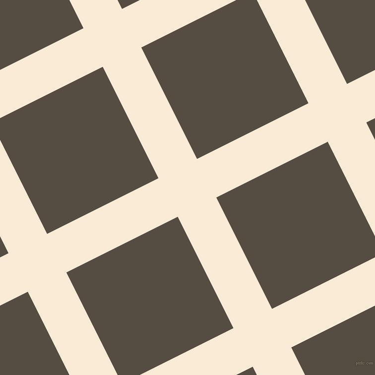 27/117 degree angle diagonal checkered chequered lines, 87 pixel line width, 251 pixel square size, Antique White and Mondo plaid checkered seamless tileable