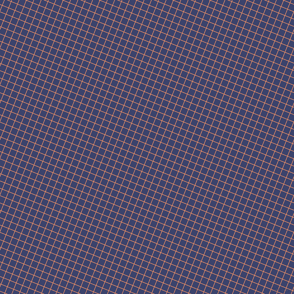 68/158 degree angle diagonal checkered chequered lines, 1 pixel line width, 13 pixel square size, Atomic Tangerine and Port Gore plaid checkered seamless tileable