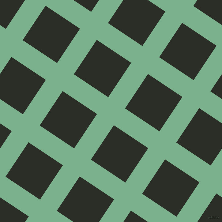 56/146 degree angle diagonal checkered chequered lines, 66 pixel lines width, 135 pixel square size, Bay Leaf and Marshland plaid checkered seamless tileable